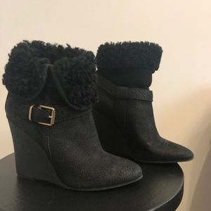 BURBERRY Fowler  Black Suede Wedge Booties Size 8